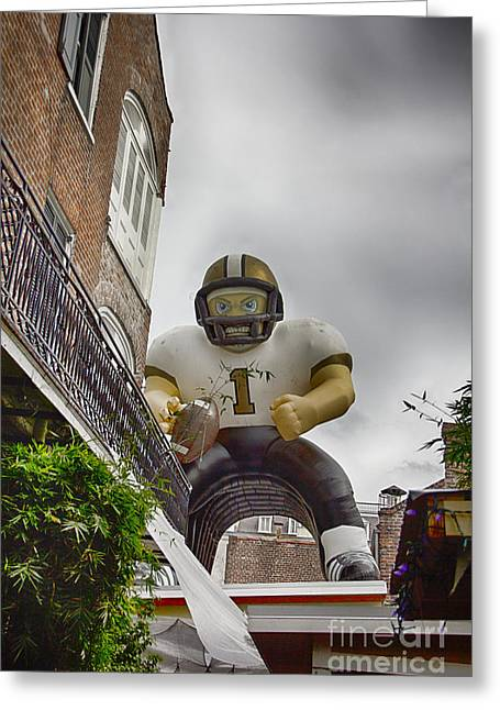 New Orleans Saints-nfl Inflatable Player Greeting Card by Douglas Barnard