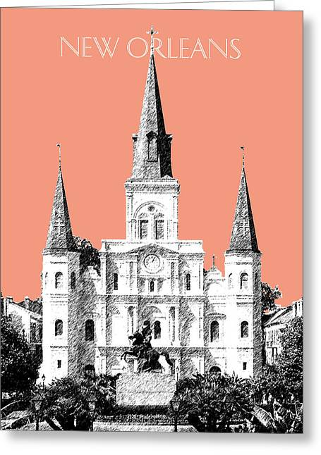 New Orleans Skyline Jackson Square - Salmon Greeting Card by DB Artist