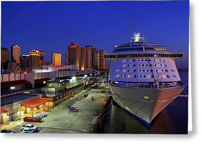 New Orleans Skyline With The Voyager Of The Seas Greeting Card