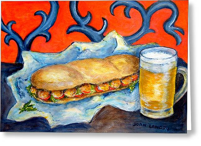 New Orleans Poboy Greeting Card by Joan Landry