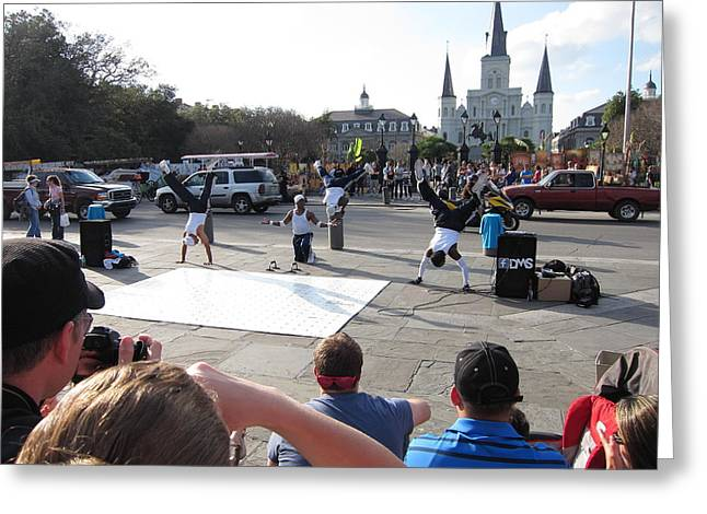 New Orleans - Street Performers - 12129 Greeting Card