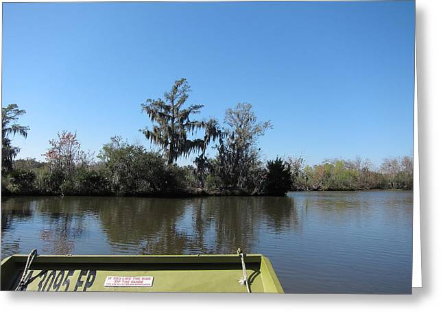 New Orleans - Swamp Boat Ride - 121235 Greeting Card by DC Photographer