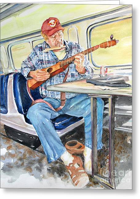 Greeting Card featuring the painting New Orleans Train To Hattiesburg by Cynthia Parsons