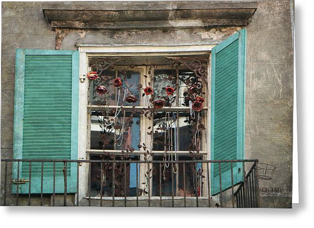 New Orleans Window Greeting Card by Lorella  Schoales