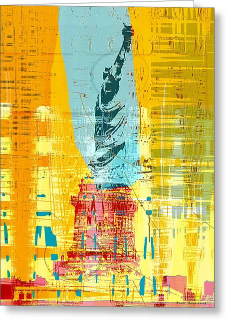 New Paint - New York Liberty Statue I Greeting Card by Joost Hogervorst
