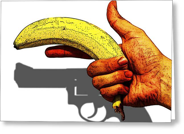 New Photographic Art Print For Sale   Hand Gun Against A White Background Greeting Card
