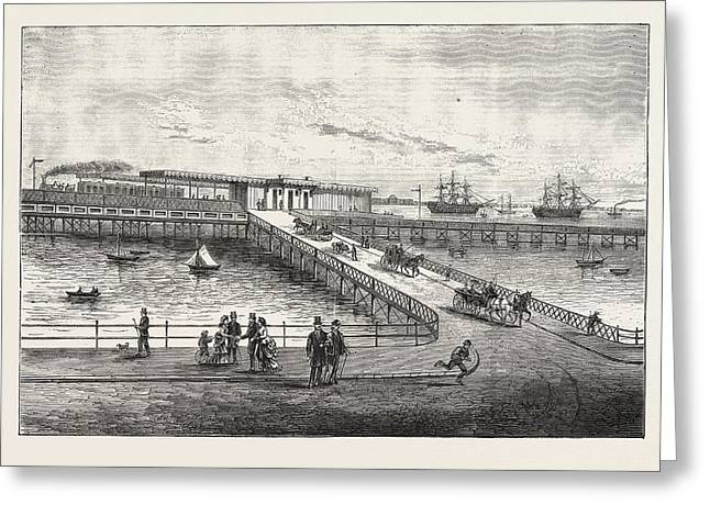 New Pier And Railway Station, For Portsmouth Harbour Greeting Card by English School