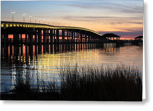 New Pier Sunset Greeting Card by Steve Phillips