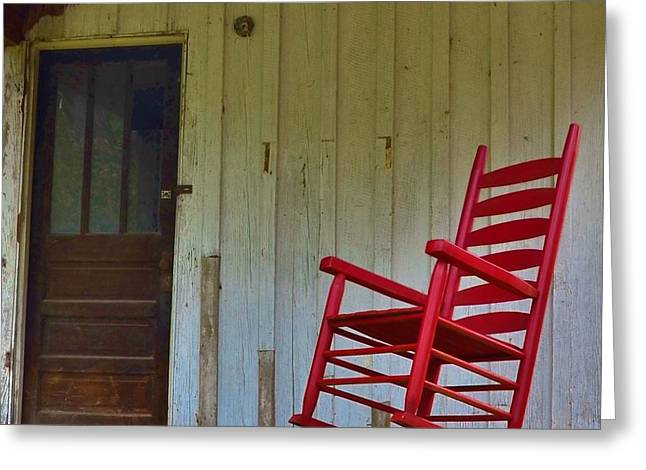 New Red Rocker - Old Porch Greeting Card by Bob Sample