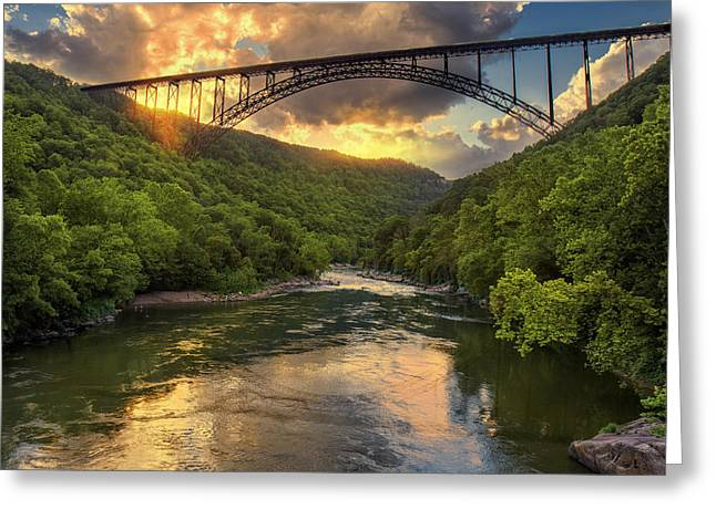 New River Evening Glow Greeting Card by Mary Almond