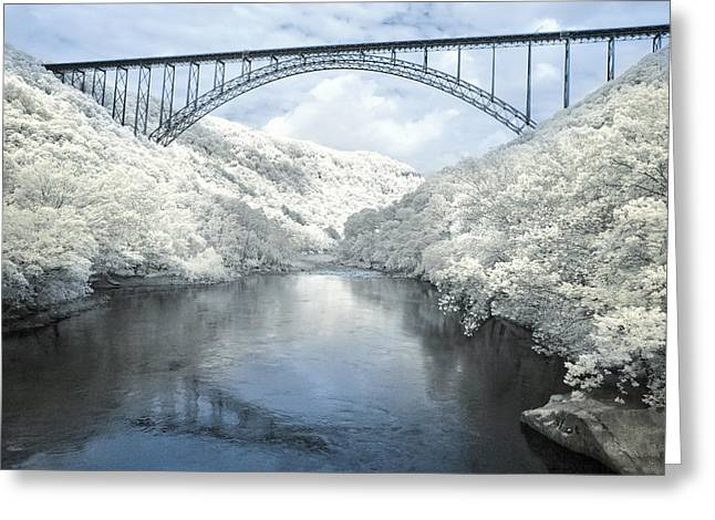 New River Gorge Bridge In Infrared Greeting Card by Mary Almond