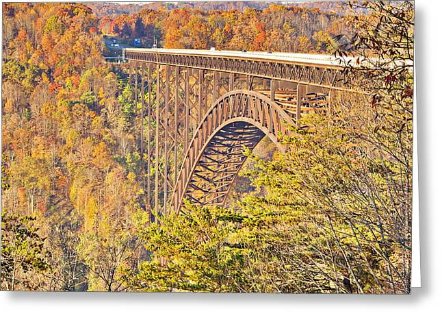 New River Gorge Single-span Arch Bridge In Autumn. Greeting Card