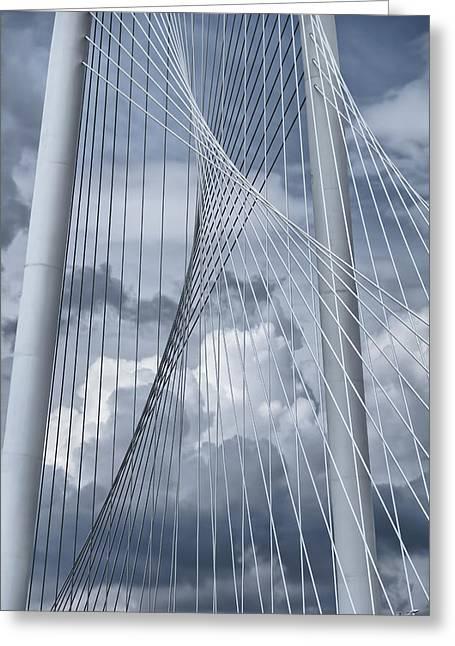 New Skyline Bridge Greeting Card by Joan Carroll