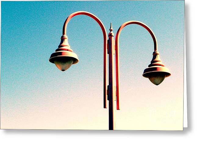 Greeting Card featuring the digital art Beach Lamp Post by Valerie Reeves
