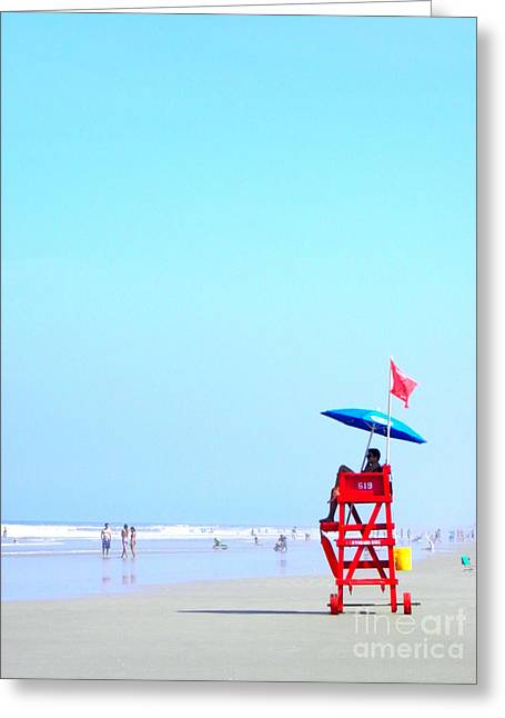 Greeting Card featuring the digital art New Smyrna Lifeguard by Valerie Reeves