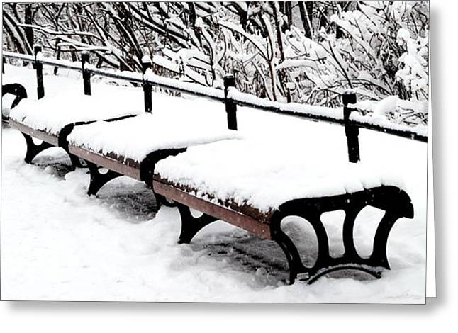 New Snow - Benches Greeting Card by Jacqueline M Lewis