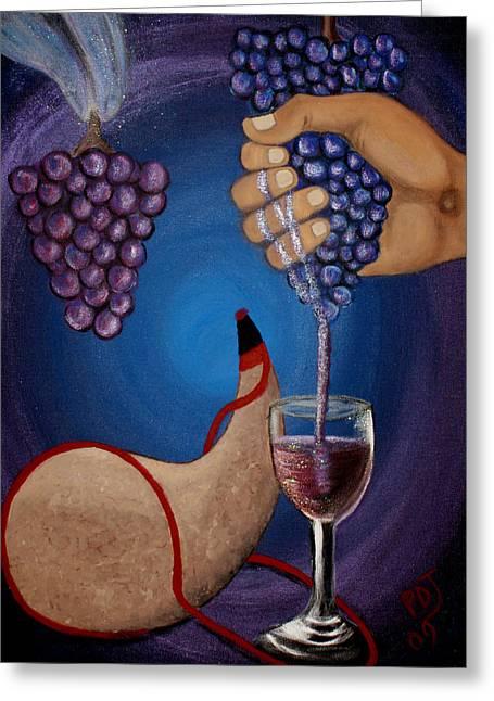 New Wine Greeting Card by Pamorama Jones