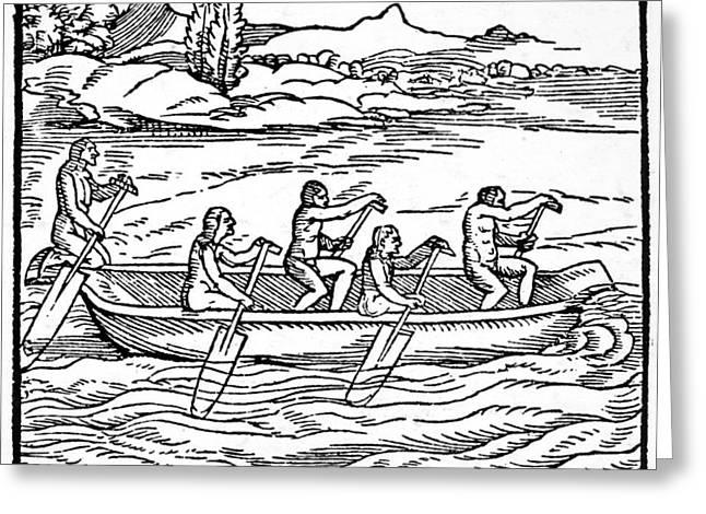New World Canoe, 1563 Greeting Card by Granger