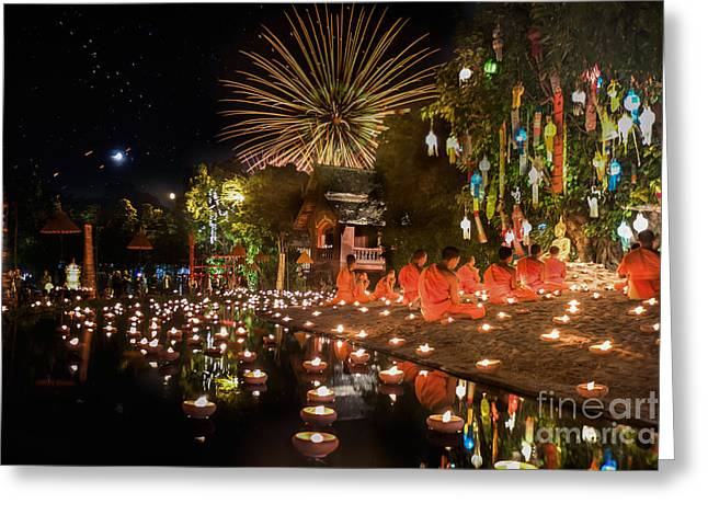 New Year Anniversary Festival At Chaing Mai Greeting Card by Anek Suwannaphoom