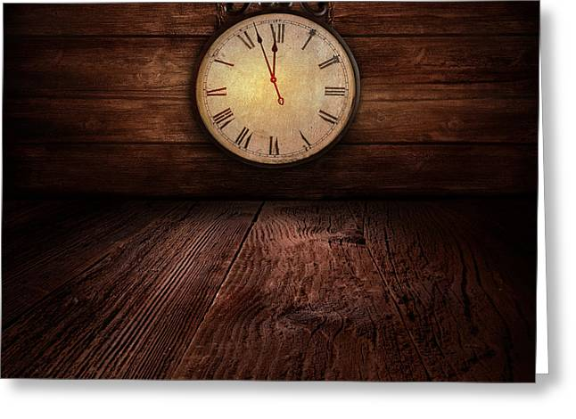 New Year Design - Ticking Clock Greeting Card by Mythja  Photography