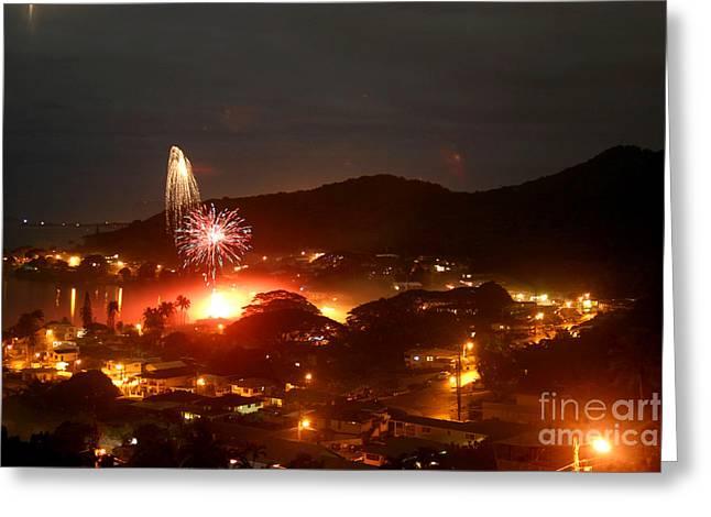 New Year Eve Kaneohe Bay Hawaii Greeting Card by Mukta Gupta