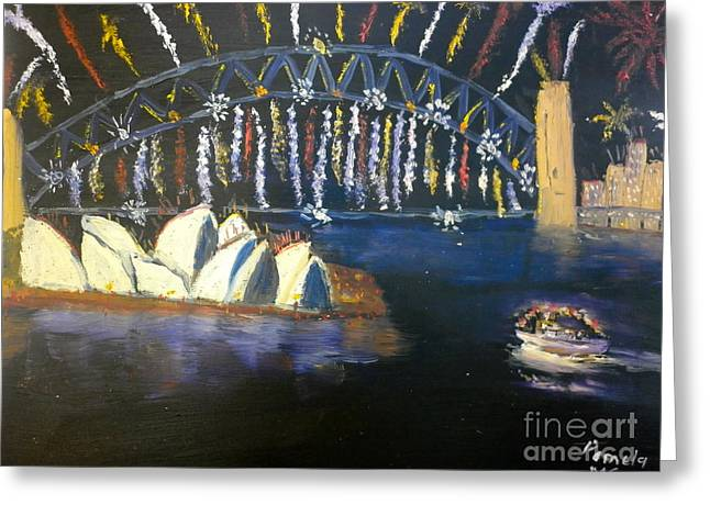 Greeting Card featuring the painting New Year Eve On Sydney Harbour by Pamela  Meredith