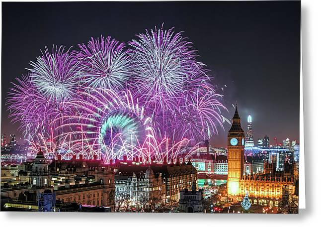 New Year Fireworks Greeting Card by Stewart Marsden