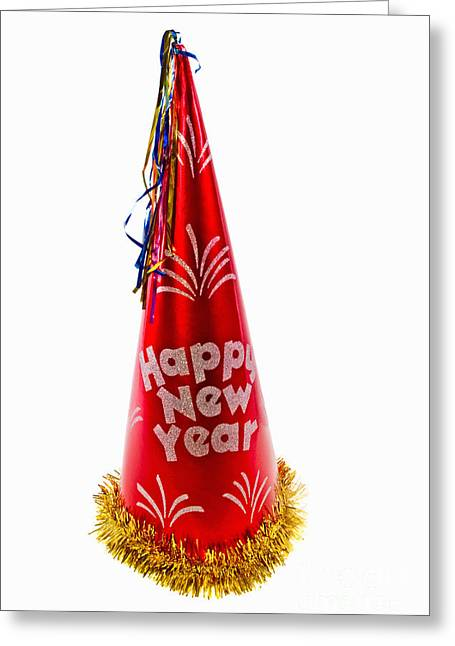 Happy New Year Party Hat Greeting Card by Vizual Studio