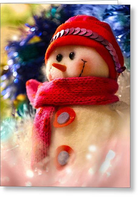 New Year Snowman Greeting Card by Irina Effa