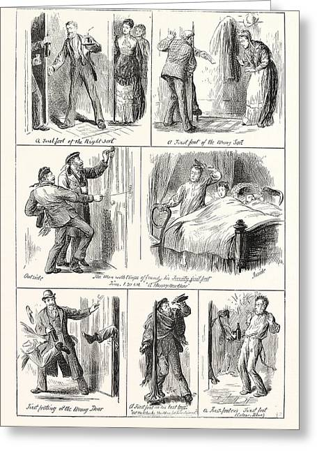 New Years Day In Scotland, First Footing, Engraving 1876 Greeting Card by English School