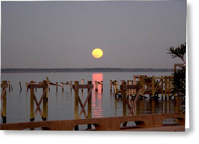 New Years Eve Blue Moon On The Bay Greeting Card