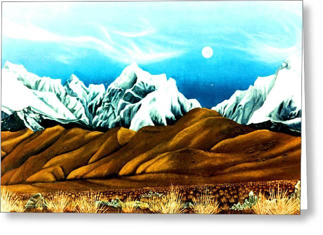 New Years Moonrise Qver Cojata Peru Bolivian Frontier Greeting Card