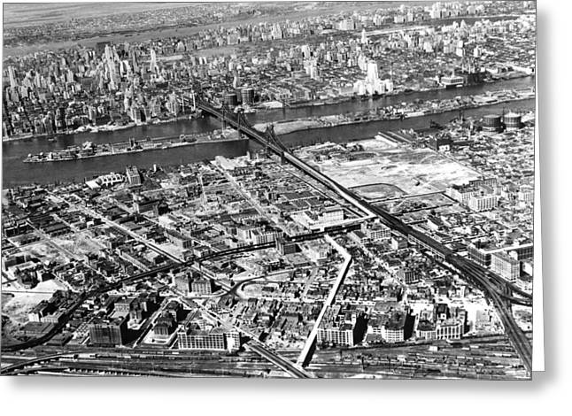 New York 1937 Aerial View  Greeting Card by Underwood Archives