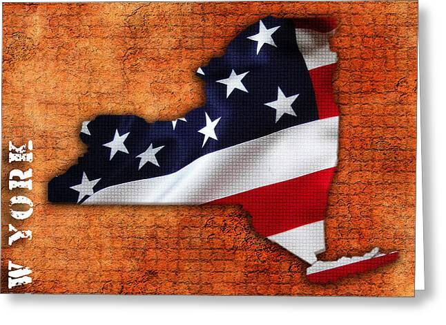 New York American Flag State Map Greeting Card by Marvin Blaine