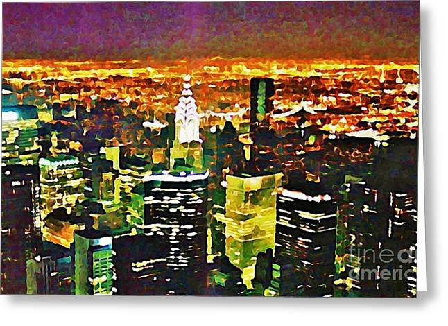 New York At Night From The Empire State Building Greeting Card by John Malone of Halifax Nova Scotia Canada