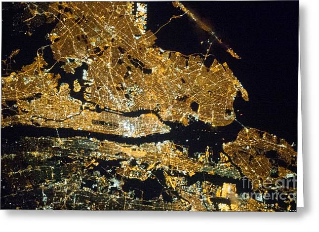 New York At Night, Iss Image Greeting Card by Nasa