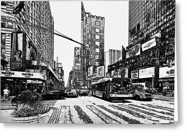 New York Black And White 12 Greeting Card