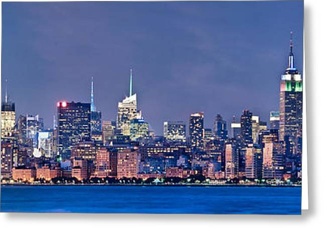 New York Blue Hour Panorama Greeting Card