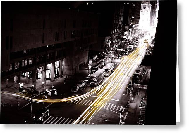 New York Cabs Greeting Card by Simon Laroche