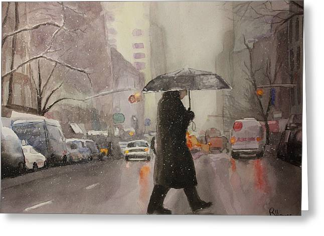 Greeting Card featuring the painting New York Chill by Rachel Hames