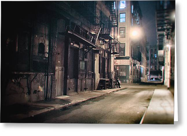 New York City Alley At Night Greeting Card by Vivienne Gucwa