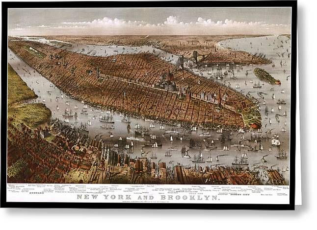 New York City And Brooklyn 1875 Map Greeting Card by Stephen Stookey
