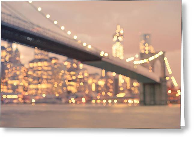 New York City And The Brooklyn Bridge - Night Lights Greeting Card by Vivienne Gucwa