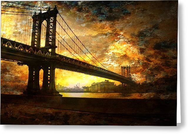 New York City Bridge Greeting Card by Bruce Rolff