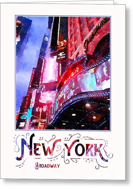 New York City Broadway Night Lights Digital Watercolor Greeting Card