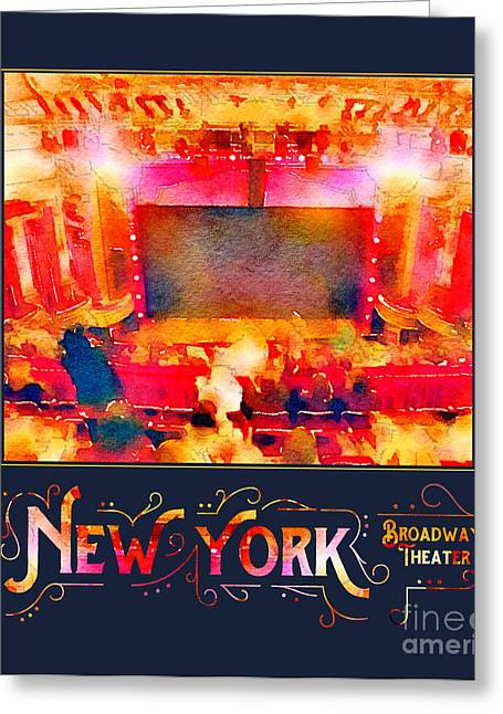 New York City Broadway Theater Digital Watercolor Greeting Card
