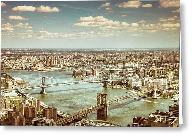 New York City - Brooklyn Bridge And Manhattan Bridge From Above Greeting Card by Vivienne Gucwa