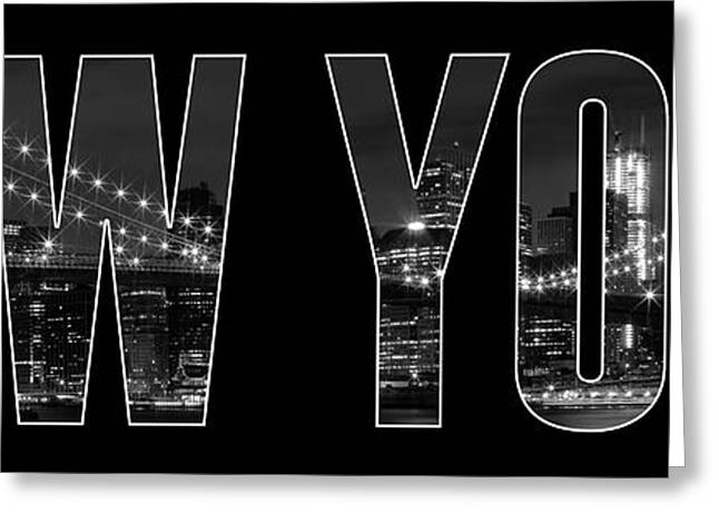 New York City Brooklyn Bridge Bw Greeting Card