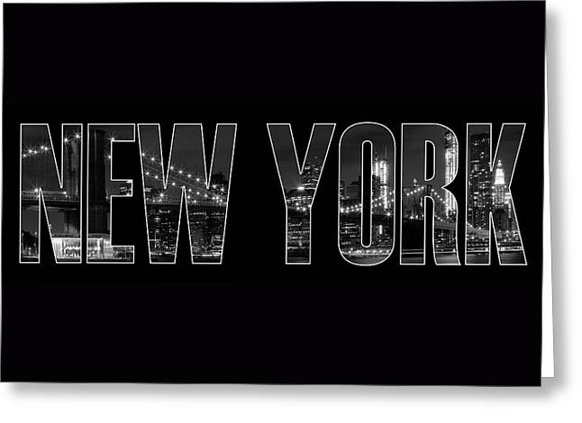 New York City Brooklyn Bridge Bw Greeting Card