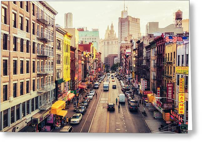 New York City - Chinatown Street Greeting Card by Vivienne Gucwa